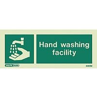 Photoluminescent Rigid Plastic Sign 200X80mm Single Sided Water Management Hand Washing Facility