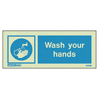 Photoluminescent Rigid Plastic Sign 200X80mm Single Sided Water Management Wash Your Hands