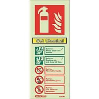 Photoluminescent Rigid Plastic Sign 200X80mm Fire Extinguisher Identification Swet Chemical