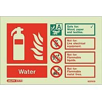 Photoluminescent Rigid Plastic Sign 100X150mm Fire Extinguisher Water