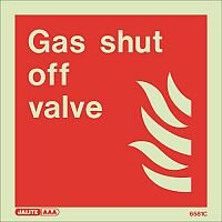Photoluminescent Fire Fighting Equipment Notices Gas Shut Off Valve HxW 150X150mm