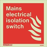 Photoluminescent Fire Fighting Equipment Notices Mains Electrical Isolation Switch HxW 150X150mm