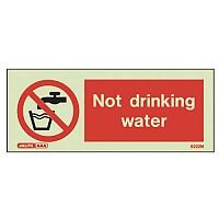 Photoluminescent Rigid Plastic Sign 200X80mm Not Drinking Water