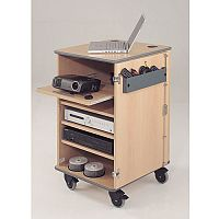 Secure Multimedia Projector Mobile Cabinet Beech