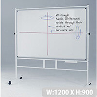 Landscape Revolving Double-Sided Whiteboard With Guideline Surface 900x1200mm