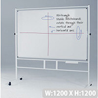 Square Revolving Double-Sided Whiteboard With Guideline Surface 1200x1200mm