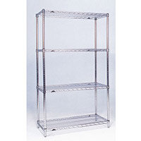 Olympic Chrome Wire Shelving System 1590mm High Starter Unit WxD 914x610mm 4 Shelves & 4 Posts 350kg Shelf Capacity