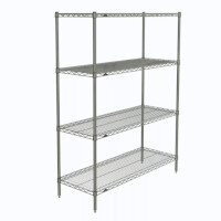 Olympic Chrome Wire Shelving System 1590mm High Starter Unit WxD 1219x610mm 4 Shelves & 4 Posts 350kg Shelf Capacity