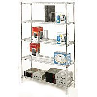 Olympic Chrome Wire Shelving System 1895mm High Starter Unit WxD 1067x457mm 5 Shelves & 4 Posts 350kg Shelf Capacity
