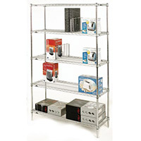Olympic Chrome Wire Shelving System 1895mm High Starter Unit WxD 1219x457mm 5 Shelves & 4 Posts 350kg Shelf Capacity