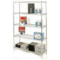 Olympic Chrome Wire Shelving System 1895mm High Starter Unit WxD 1219x356mm 5 Shelves & 4 Posts 350kg Shelf Capacity