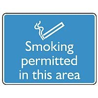 Self Adhesive Vinyl Information Sign Smoking Permitted In This Area