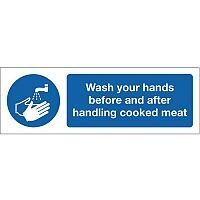 Self Adhesive Vinyl Food Processing And Hygiene Sign Wash Your Hands Before And After Handling Cooked Meat