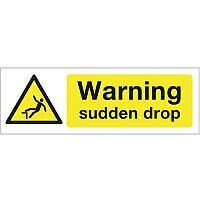 Self Adhesive Vinyl Construction And General Hazards Sign Warning Sudden Drop