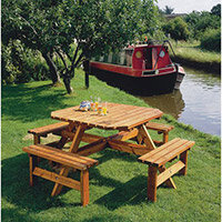 Octagonal Wooden Picnic Bench Junior 8 Seat Bench