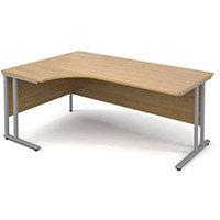 1800 Left Hand Ergonomic Oak Desk With Silver Legs
