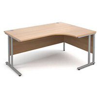 1600 Right Hand Ergonomic Beech Desk With Silver Legs