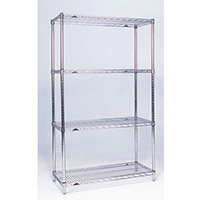 Olympic Chrome Wire Shelving System 1590mm High Starter Unit WxD 1524x356mm 4 Shelves & 4 Posts 275kg Shelf Capacity
