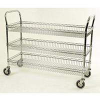 Chrome Basket Shelf Trolley Three Tier Trolley Shelf Width 914Mm Capacity 200kg
