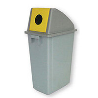 Recycling Bin Containers With Circle Opening Yellow Lid 60L