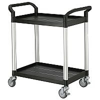 Two Tier Plastic Utility Tray Trolley With Open Sides And Ends With 2 Standard Size Shelves Capacity 250kg
