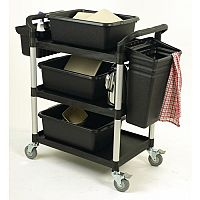 Three Tier Plastic Utility Tray Trolley With Accessories Capacity 250kg