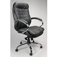 High Back Leather Executive Office Armchair With Chrome Base Black