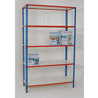 Simonclick Boltless Shelving Unit With 5 Melamine Faced Shelves HxWxD 2000x1200x400mm - 175kg Shelf Capacity, Easy To Clean Shelf Surface