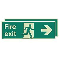 Photoluminescent Double Sided Fire Exit Sign Arrow Right HxW 300x900mm