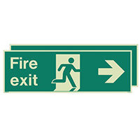 Photoluminescent Double Sided Fire Exit Sign Arrow Right HxW 250x600mm
