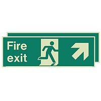 Photoluminescent Double Sided Fire Exit Sign Arrow Up Right HxW 300x900mm