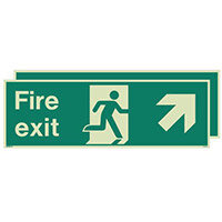 Photoluminescent Double Sided Fire Exit Sign Arrow Up Right HxW 250x600mm