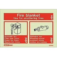 Photoluminescent Sign Fire Blanket Hxw: 100X150 Fire Blanket