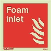 Photoluminescent Fire Fighting Equipment Notices Foam Inlet HxW 150x150mm