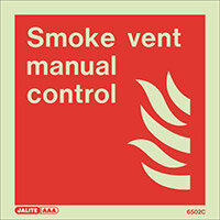 Photoluminescent Fire Fighting Equipment Notices Smoke Vent Manual Control HxW 150x150mm