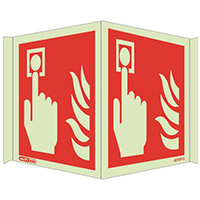 Photoluminescent Fire Alarm Location Sign Panoramic HxW 150x400mm
