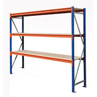 Heavy Duty Wide Span Shelving Starter Bay HxWxD 2000x2400x600mm - Boltless Design, 500kg Shelf Capacity, 3 Chipboard Decks, 6 Beams, 2 Supporting Frames, Safety Clips & Footplates Included