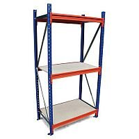 Heavy Duty Wide Span Shelving Starter Bay HxWxD 2500x2400x600mm - Boltless Design, 500kg Shelf Capacity, 3 Chipboard Decks, 6 Beams, 2 Supporting Frames, Safety Clips & Footplates Included