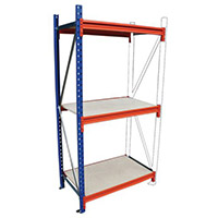 Heavy Duty Wide Span Shelving Add On Bay HxWxD 2000x2400x1200mm - Boltless Design, 500kg Shelf Capacity, 3 Chipboard Decks, 6 Beams, 1 Supporting Frame, Safety Clips & Footplates Included