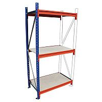 Heavy Duty Wide Span Shelving Add On Bay HxWxD 2500x2400x1200mm - Boltless Design, 500kg Shelf Capacity, 3 Chipboard Decks, 6 Beams, 1 Supporting Frame, Safety Clips & Footplates Included
