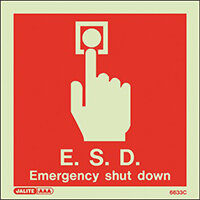 Photoluminescent E.S.D Emergency Shut Down Sign
