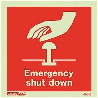 Photoluminescent Emergency Shut Down Sign