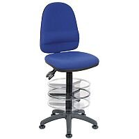 High Back Deluxe Draughter Chair With Lumbar Support & Adjustable Foot Ring H570 - 850mm Black