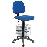 ERGO BLASTER Deluxe Medium Back Draughter Chair H600 - 860mm With Adjustable Foot Ring Blue Fabric Seat