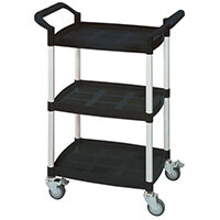 Three Tier Plastic Utility Tray Trolley With Open Sides And Ends With 3 Mini Black Shelves