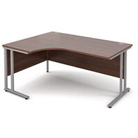 Silver Frame 1600mm Left Hand Ergonomic Desk Walnut