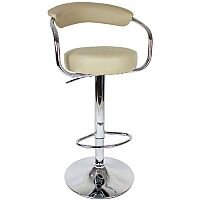 Round Leather Bar Stool Cream