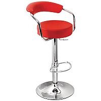 Round Leather Bar Stool Red