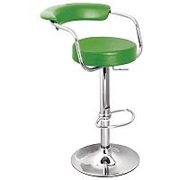 Round Leather Bar Stool Green