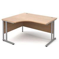 1400mm Left Hand Ergonomic Desk In Beech 25mm Top & Silver Cantilever Double Upright Legs